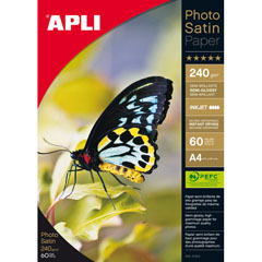 Material PAPEL FOTOGRAFICO PHOTO SATIN 240G 60H A4 APLI T10414
