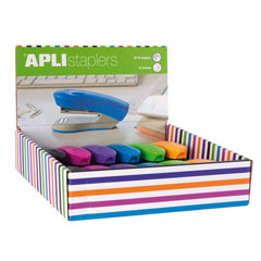 Material EXPOSITOR GRAPADORAS OFFICE/HOME 6 COLORES 12U APLI