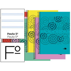 Material BLOC ESPIRAL LIDERPAPEL FOLIO IMAGINE TAPA POLIPROPILENO 80H 60G PAUTA 2.5MM CON MARGEN. COLORES SURTIDO