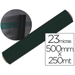 Material FILM EXTENSIBLE MANUAL BOBINA -ANCHO 500 MM. -LARGO 250 MT ESPESOR 23 MICRAS NEGRO