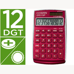 Material CALCULADORA CITIZEN BOLSILLO CPC-112 B 12 DIGITOS BURDEOS BURGUNDY 720X120X90 MM