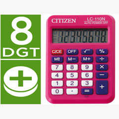 Material CALCULADORA CITIZEN BOLSILLO LC-110 8 DIGITOS ROSA