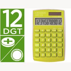 Material CALCULADORA CITIZEN BOLSILLO CPC-112GRWB 12 DIGITOS VERDE SERIE WOW